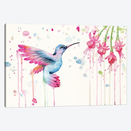 Hummingbird Garden Canvas Print #SIL78} by Sillier Than Sally Canvas Wall Art