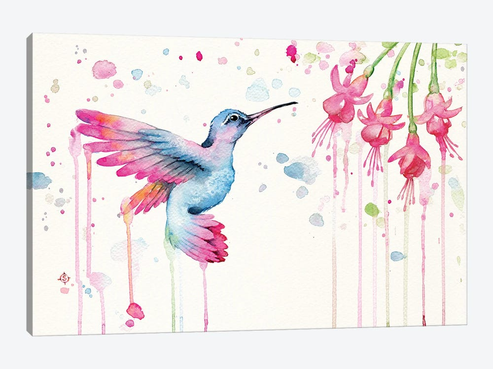 Hummingbird Garden by Sillier Than Sally 1-piece Canvas Artwork