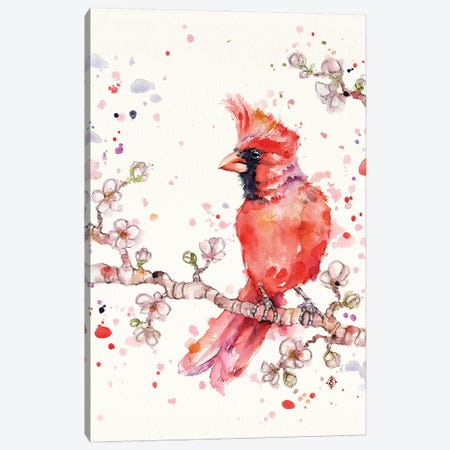 A Change In Seasons (Cardinal Bird) Canvas Print #SIL80} by Sillier Than Sally Art Print