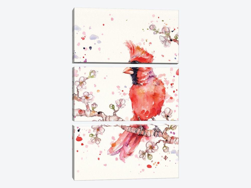 A Change In Seasons (Cardinal Bird) by Sillier Than Sally 3-piece Canvas Art Print