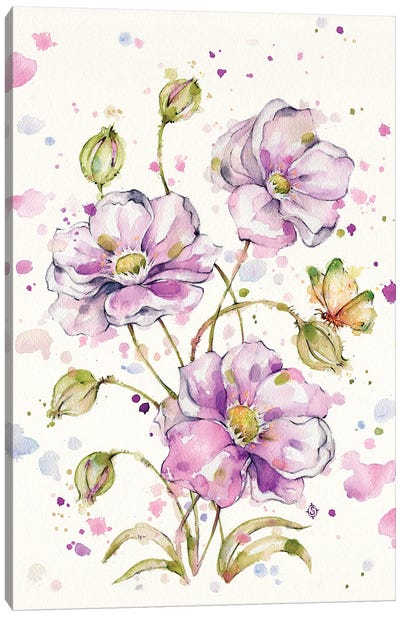 The Butterfly Dance (Flowers & Butterfly) Canvas Art Print