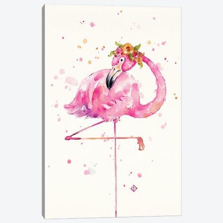 Sweet Flamingo Canvas Print #SIL84} by Sillier Than Sally Canvas Artwork