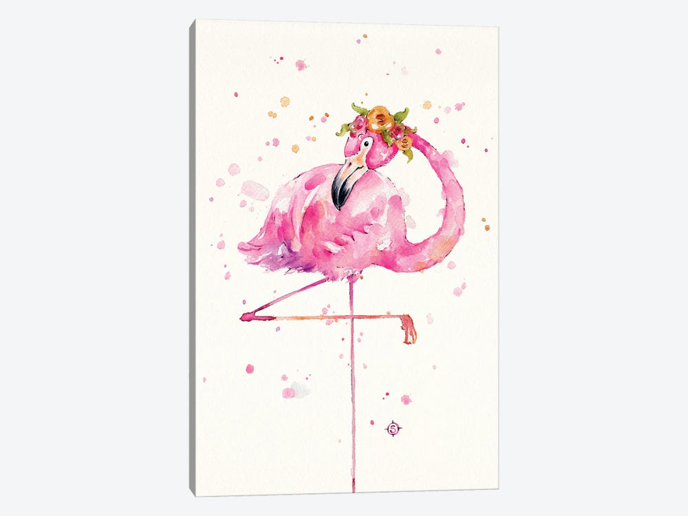Sweet Flamingo by Sillier Than Sally 1-piece Canvas Print