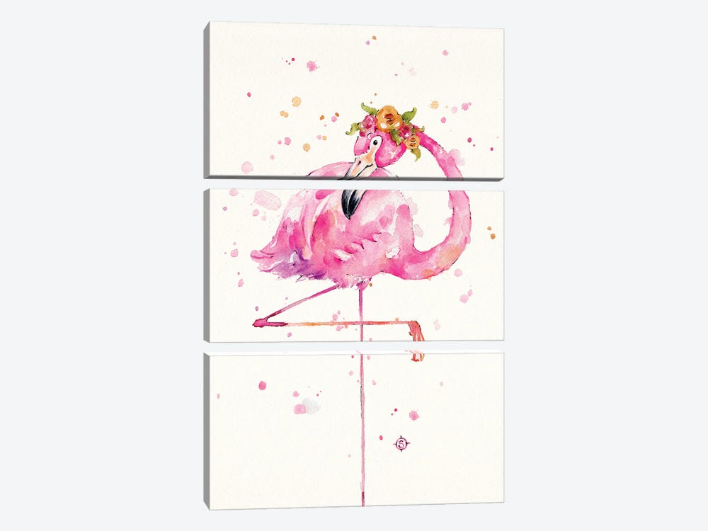 Sweet Flamingo by Sillier Than Sally 3-piece Art Print