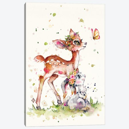Sweet Woodland Friends (Deer & Bunny) Canvas Print #SIL86} by Sillier Than Sally Canvas Artwork