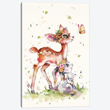 Sweet Woodland Friends (Deer & Bunny) Canvas Print #SIL86} by Sillier Than Sally Canvas Artwork