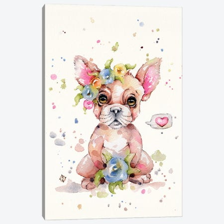 Sweet Frenchie Canvas Print #SIL88} by Sillier Than Sally Canvas Print