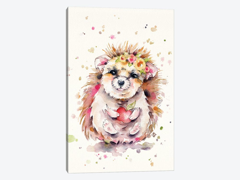 Sweet Hedgehog by Sillier Than Sally 1-piece Canvas Wall Art