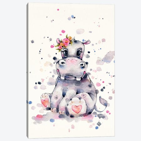 Sweet Hippo Canvas Print #SIL90} by Sillier Than Sally Canvas Artwork