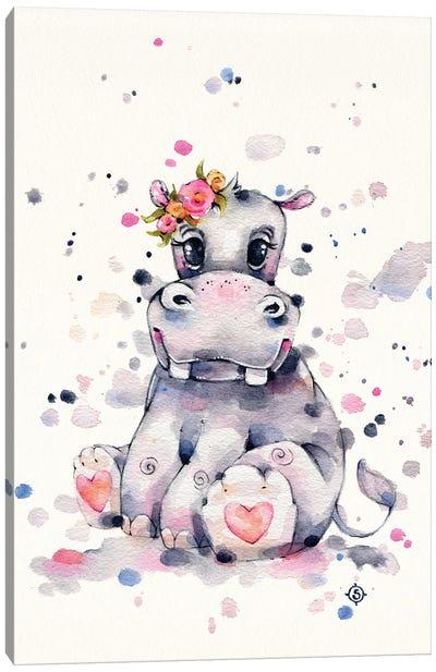Sweet Hippo Canvas Art Print