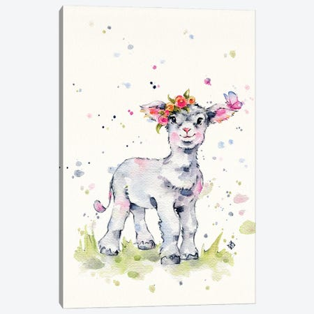 Sweet Lamb Canvas Print #SIL91} by Sillier Than Sally Canvas Artwork