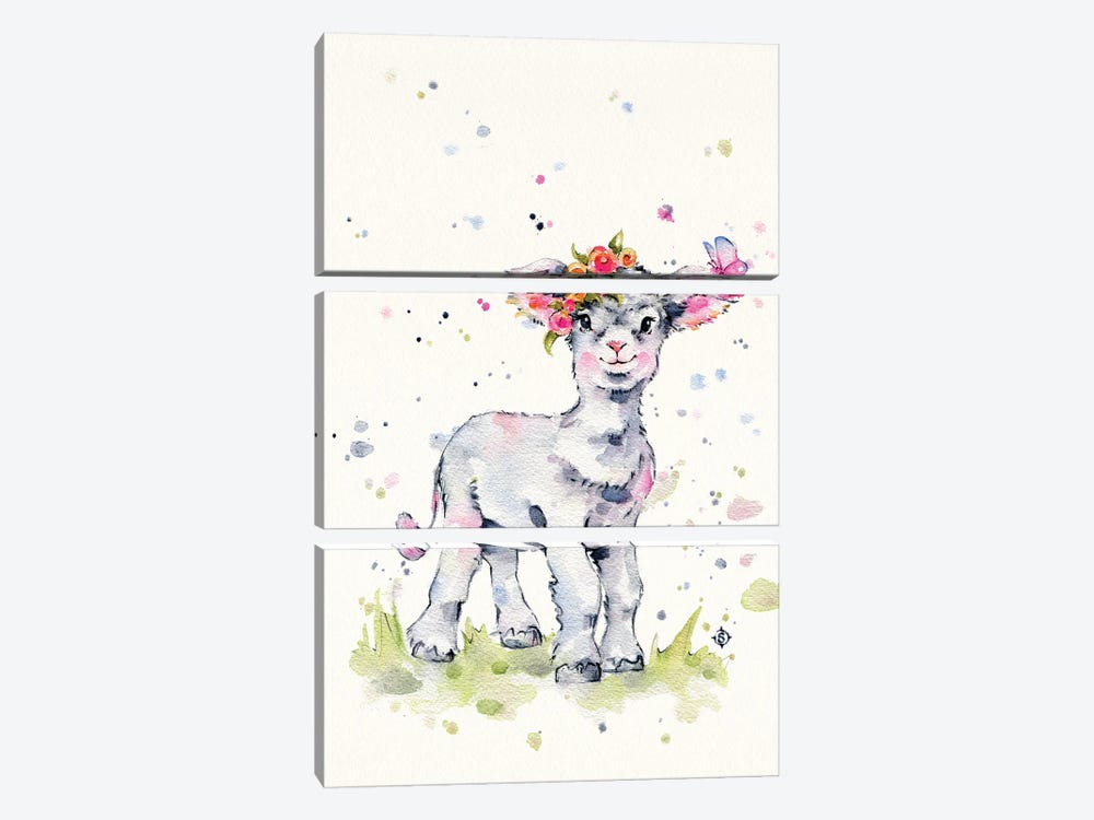 Sweet Lamb by Sillier Than Sally 3-piece Canvas Print