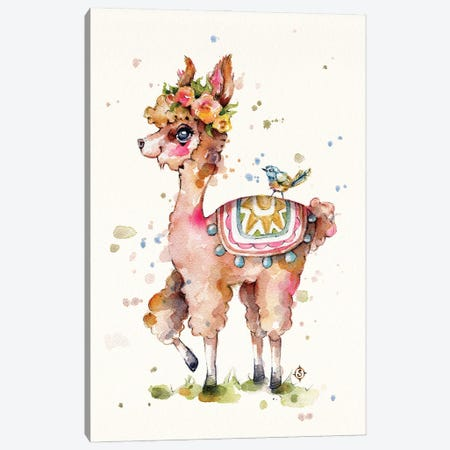 Sweet Llama Canvas Print #SIL92} by Sillier Than Sally Canvas Wall Art