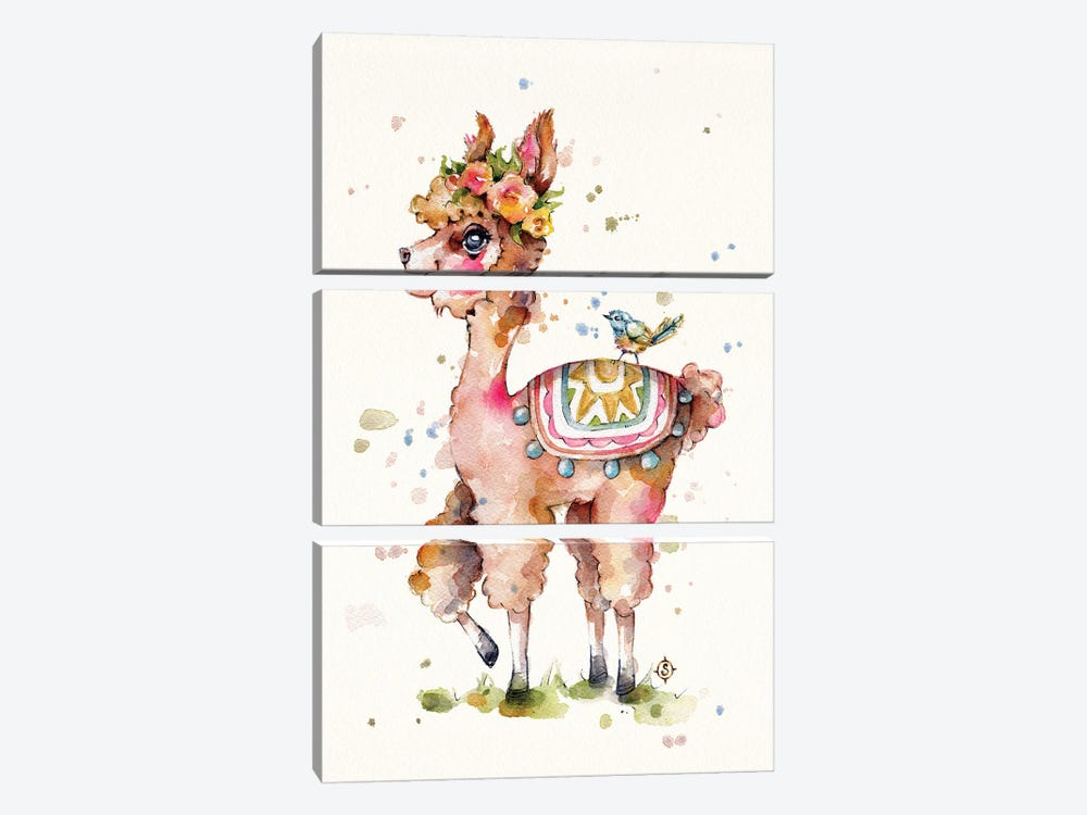 Sweet Llama by Sillier Than Sally 3-piece Canvas Art