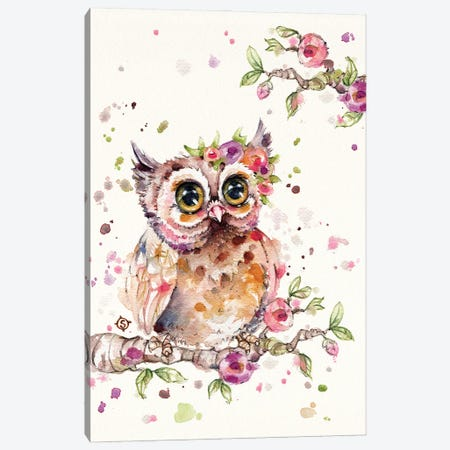 Sweet Owl Canvas Print #SIL93} by Sillier Than Sally Canvas Wall Art