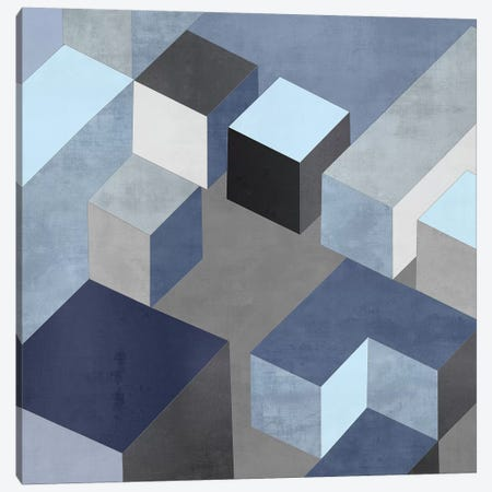 Cubic In Blue I Canvas Print #SIM1} by Todd Simmons Canvas Artwork