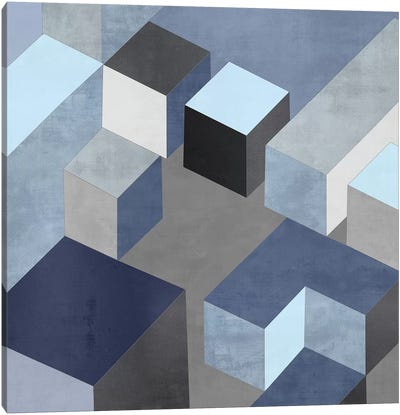 Cubic In Blue I Canvas Art Print