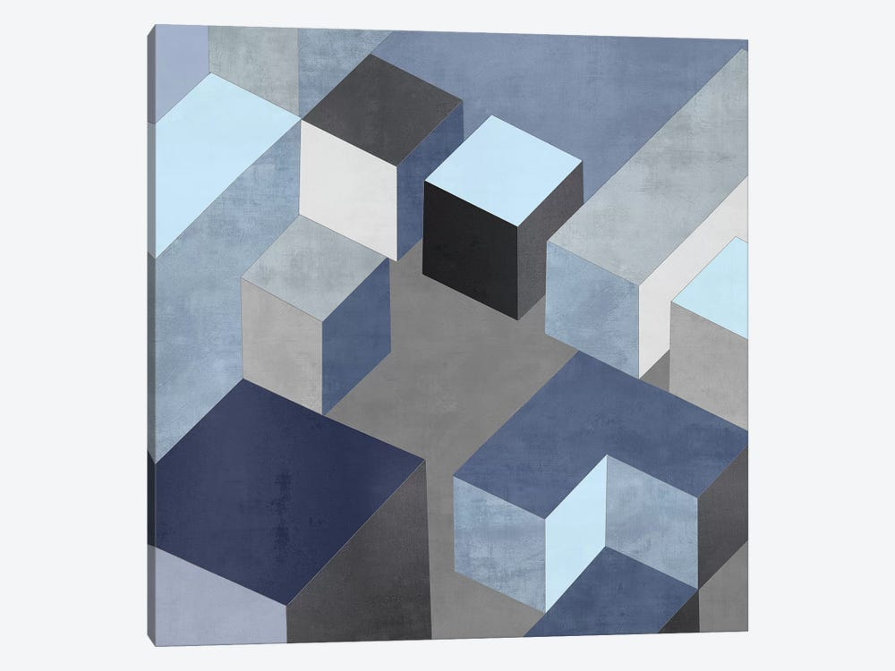 Cubic In Blue I by Todd Simmons 1-piece Canvas Print