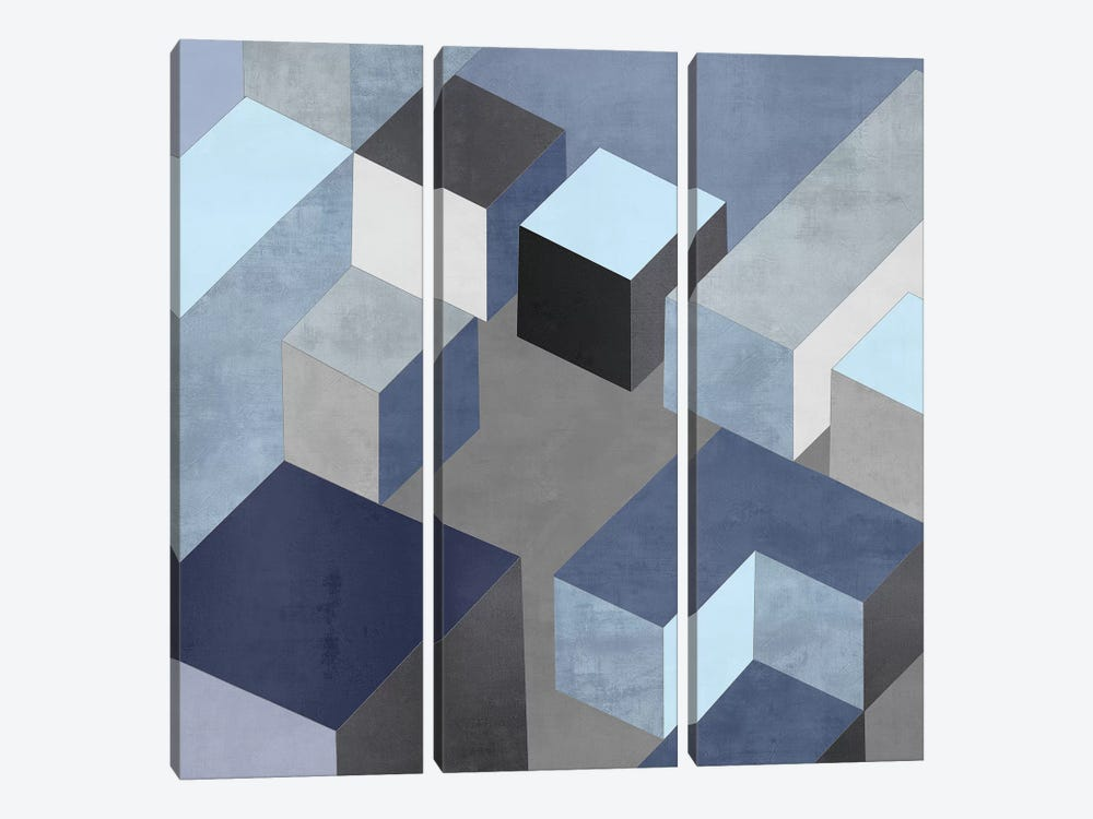 Cubic In Blue I by Todd Simmons 3-piece Canvas Print
