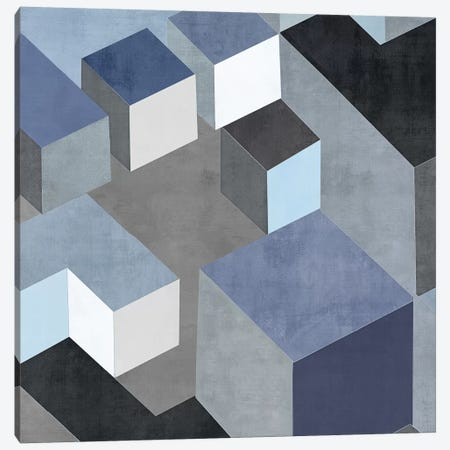 Cubic In Blue II Canvas Print #SIM2} by Todd Simmons Canvas Artwork