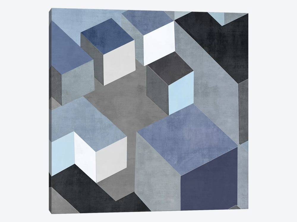 Cubic In Blue II by Todd Simmons 1-piece Canvas Artwork