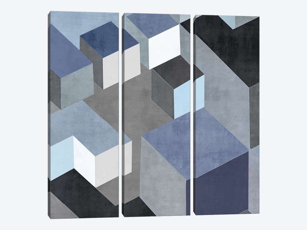 Cubic In Blue II by Todd Simmons 3-piece Canvas Wall Art