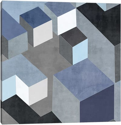 Cubic In Blue II Canvas Art Print