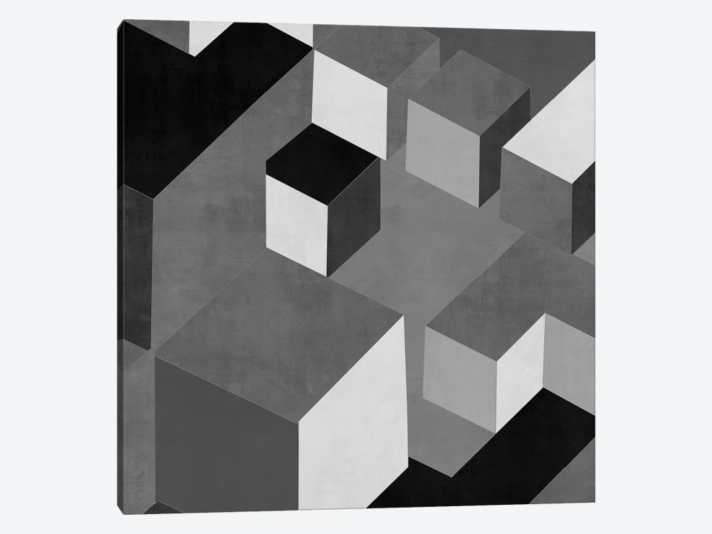 Cubic In Grey I by Todd Simmons 1-piece Canvas Art Print