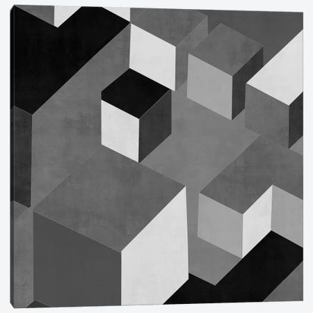 Cubic In Grey I Canvas Print #SIM3} by Todd Simmons Canvas Wall Art