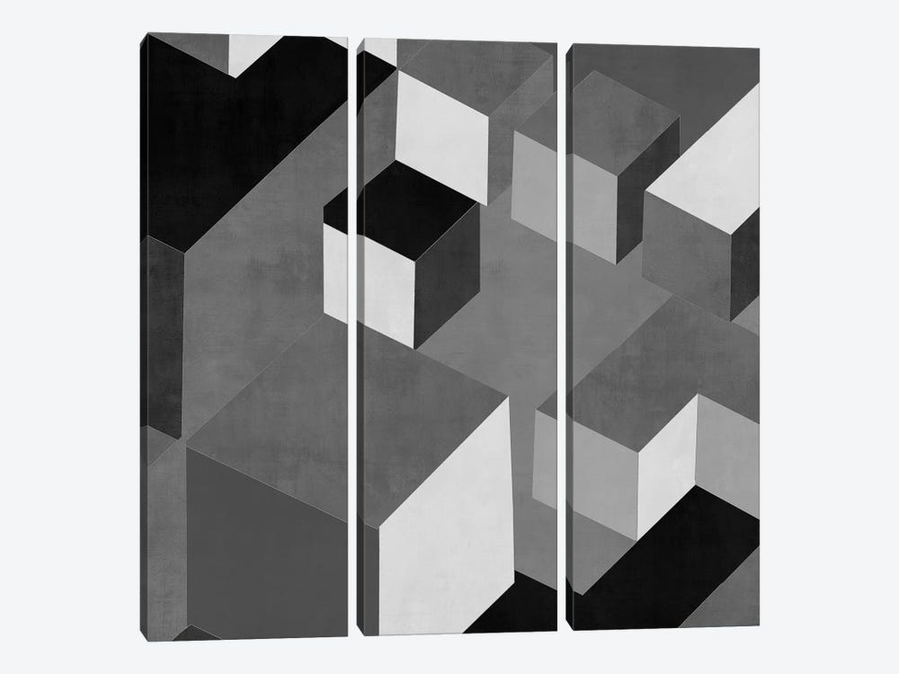 Cubic In Grey I by Todd Simmons 3-piece Art Print