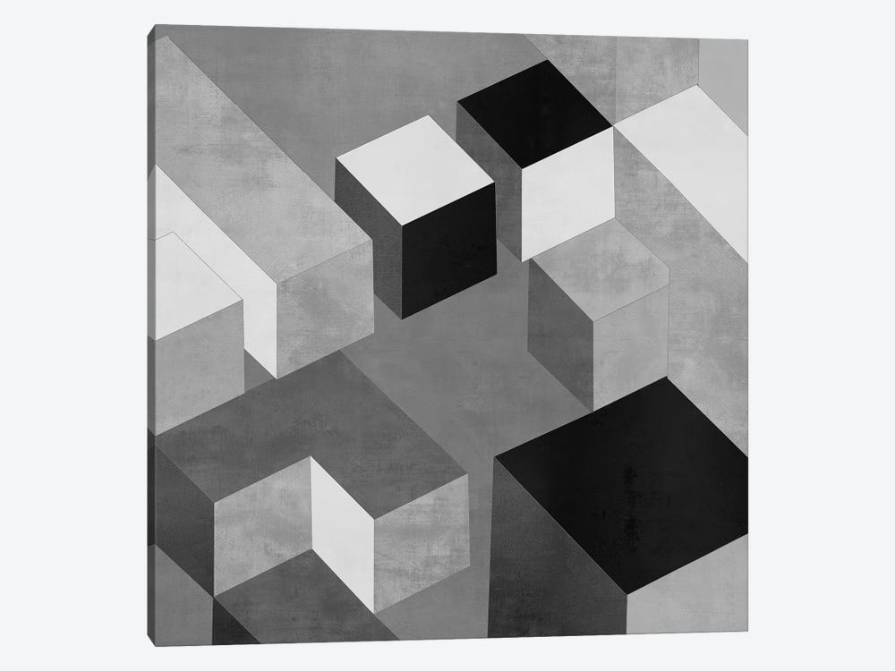 Cubic In Grey II by Todd Simmons 1-piece Canvas Wall Art