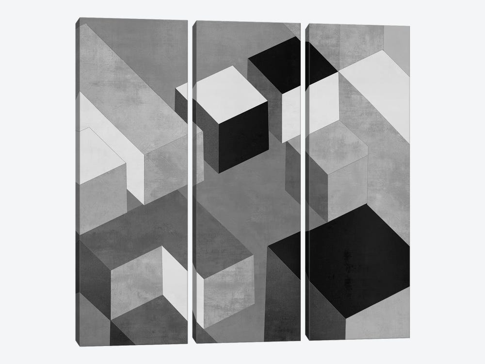 Cubic In Grey II by Todd Simmons 3-piece Canvas Art