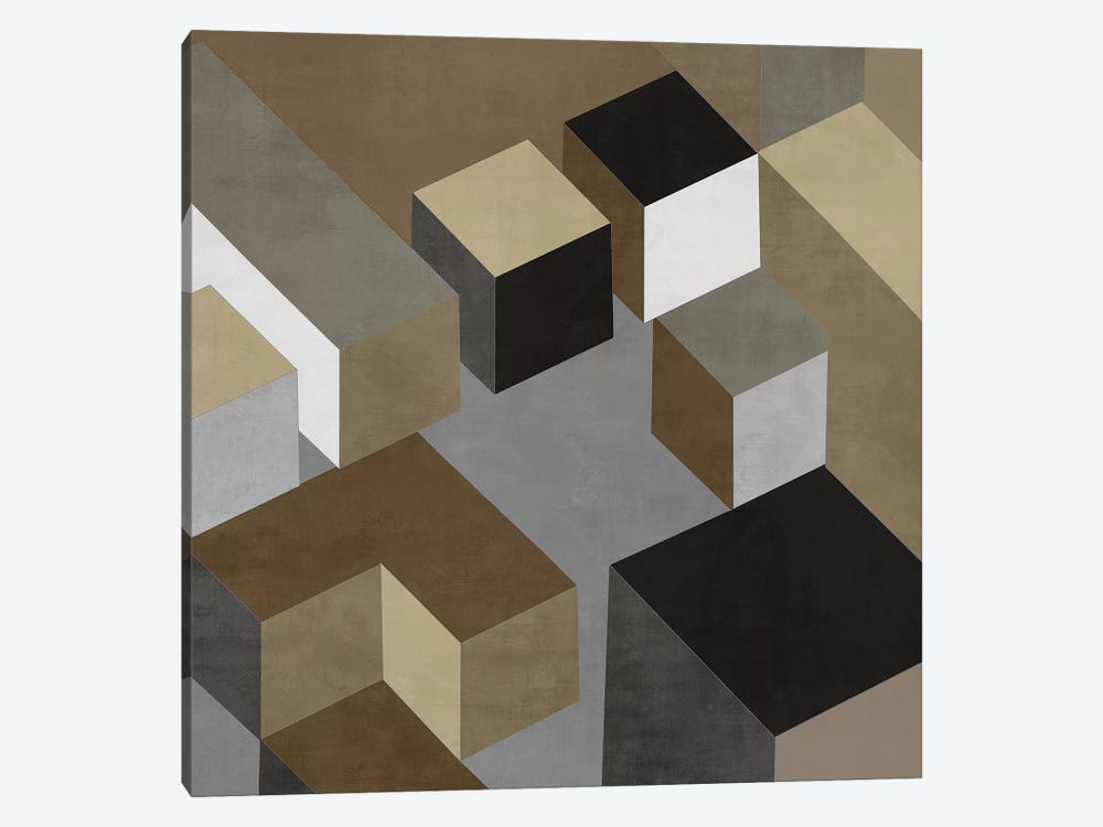 Cubic In Neutral I by Todd Simmons 1-piece Canvas Print