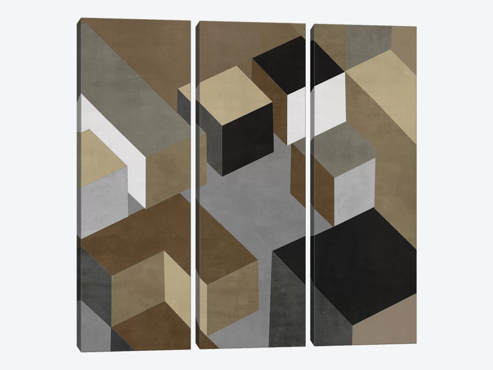 Cubic In Neutral I by Todd Simmons 3-piece Art Print
