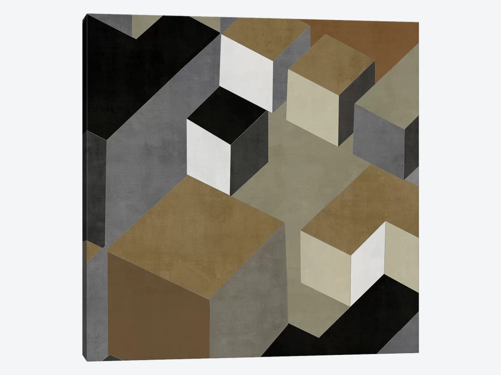 Cubic In Neutral II by Todd Simmons 1-piece Canvas Artwork