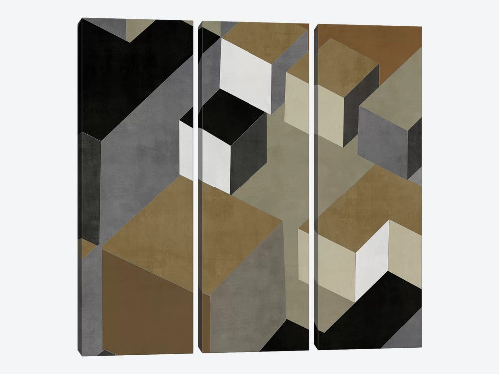 Cubic In Neutral II by Todd Simmons 3-piece Canvas Art