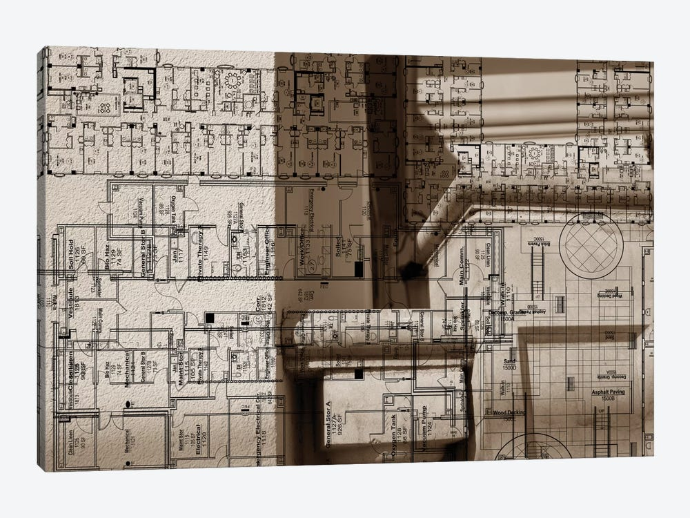 Architecture Drawing IV by Sisa Jasper 1-piece Canvas Print