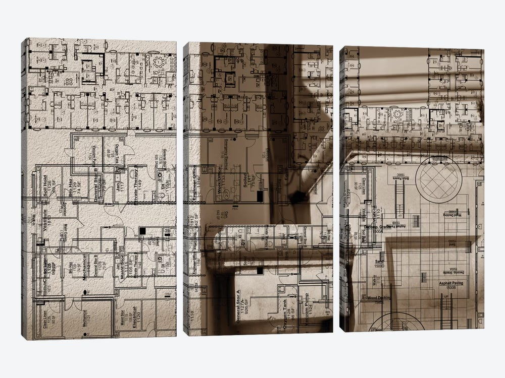 Architecture Drawing IV by Sisa Jasper 3-piece Art Print