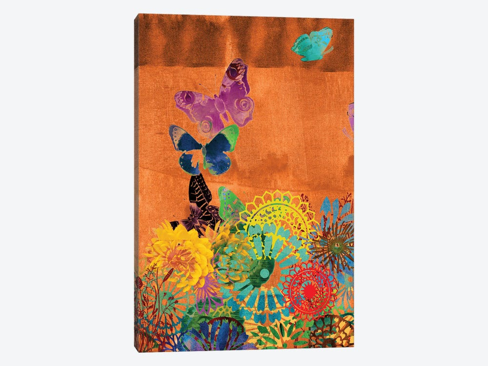Butterfly Panorama Triptych Panel II 1-piece Canvas Art