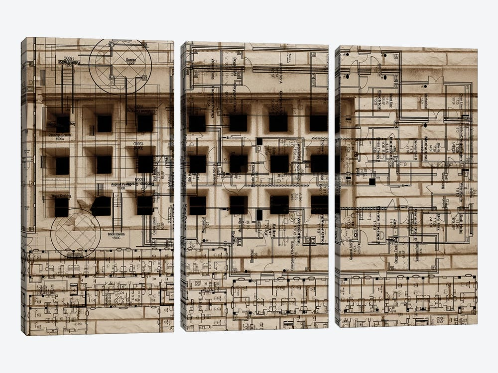 Architecture Drawing II by Sisa Jasper 3-piece Canvas Wall Art