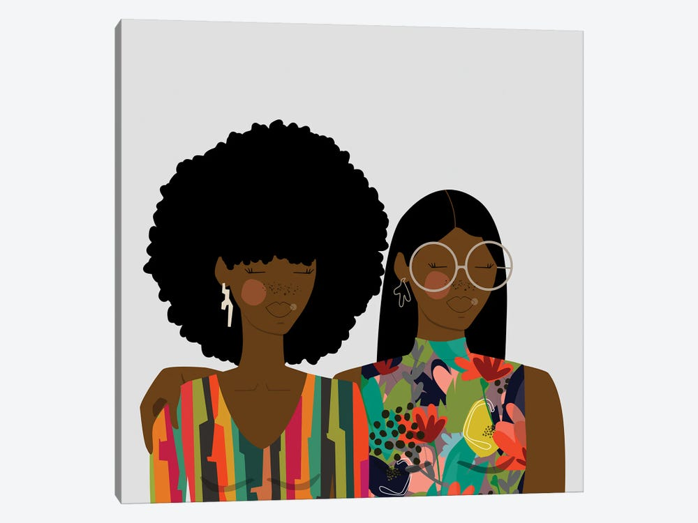Sisters by sheisthisdesigns 1-piece Canvas Wall Art
