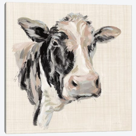 Expressionistic Cow I Neutral Linen Canvas Print #SIV135} by Silvia Vassileva Canvas Art Print