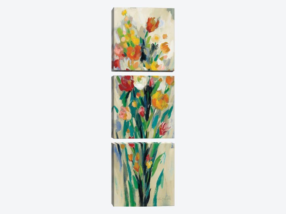 Tall Bright Flowers Cream II by Silvia Vassileva 3-piece Canvas Art