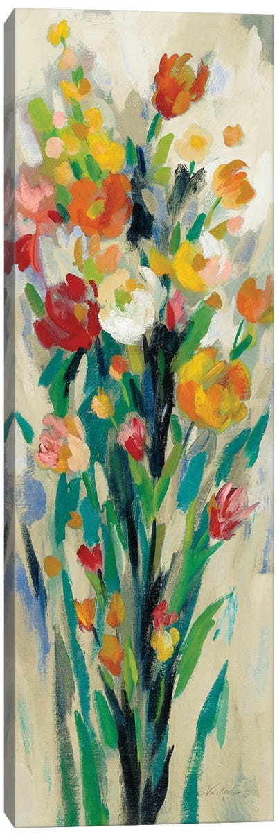 Tall Bright Flowers Cream II by Silvia Vassileva Canvas Art Print