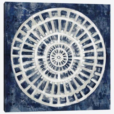 Blue Textured Medallion Canvas Print #SIV204} by Silvia Vassileva Art Print