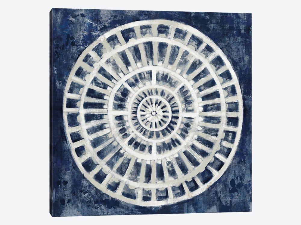 Blue Textured Medallion by Silvia Vassileva 1-piece Canvas Art Print