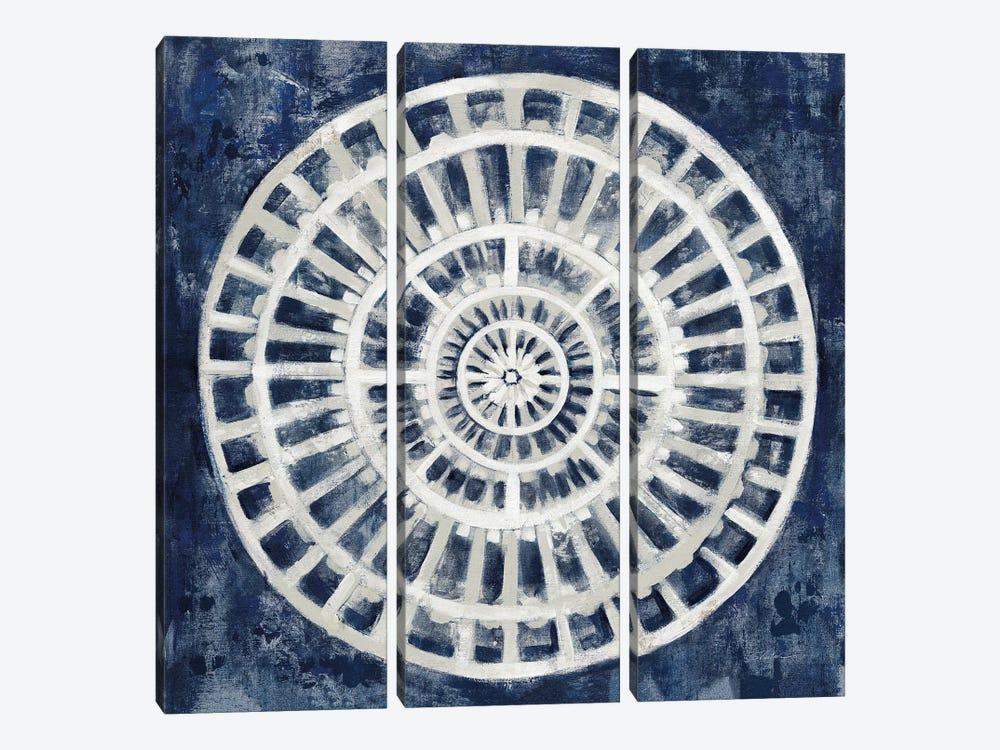 Blue Textured Medallion by Silvia Vassileva 3-piece Art Print