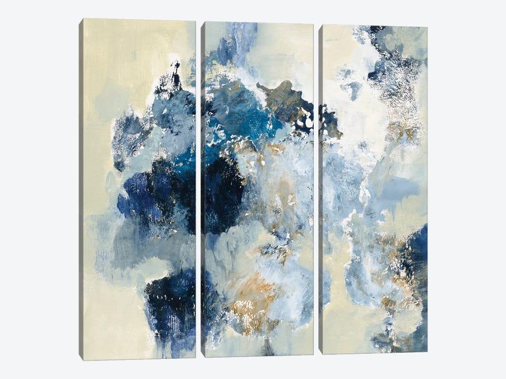 Indigo Monotype by Silvia Vassileva 3-piece Canvas Art Print