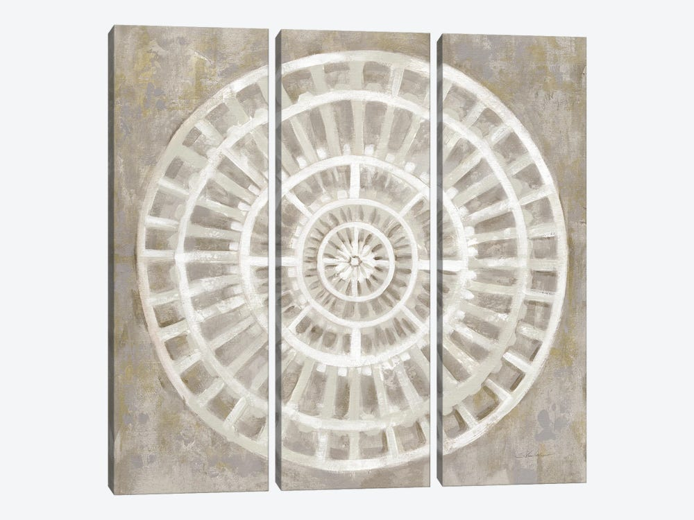 Neutral Textured Medallion Light by Silvia Vassileva 3-piece Canvas Wall Art