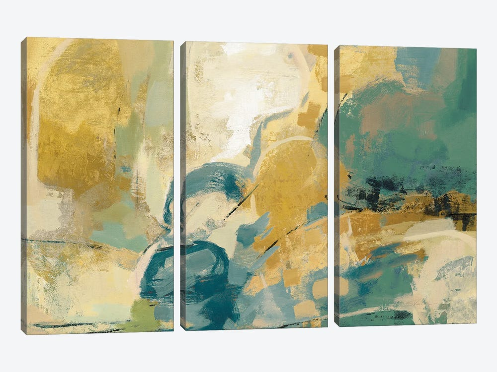 Mid Mod Mood Blue Crop by Silvia Vassileva 3-piece Canvas Print